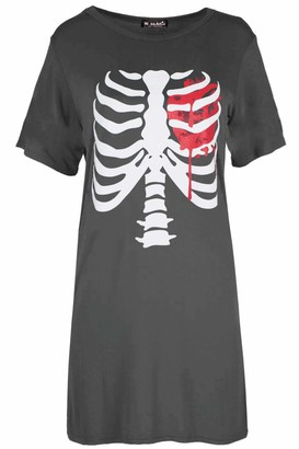 Fashion Star Womens Bleeding Heart Halloween Tunic Tee Dress Bleeding Heart Charcoal Plus Size (UK 16/18)