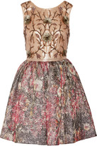 Marchesa Notte Embellished metallic brocade mini dress