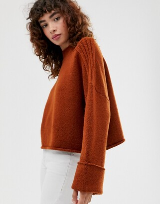 Asos Design DESIGN high neck oversized jumper with turn back cuff in recycled blend-Brown