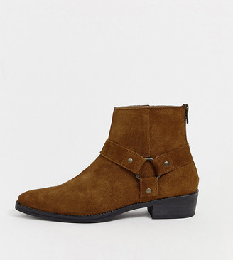 Asos DESIGN Wide Fit cuban heel western chelsea boots in tan suede with buckle detail
