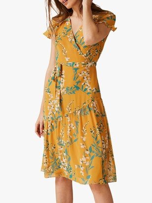 Phase Eight Eloisa Ruffle Detail Floral Dress, Apricot