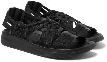 Malibu Canyon Woven Leather Trimmed Faux Webbing Sandals vmwOn80N