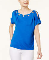 Cable & Gauge Cupio by Grommet-Trim Cold-Shoulder T-Shirt
