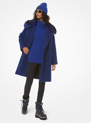 MICHAEL Michael Kors MK Faux-Fur Collar Boucle Coat - Twilight Blue - Michael Kors