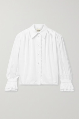 KHAITE Vanina Ruffled Pleated Cotton-poplin Blouse - White
