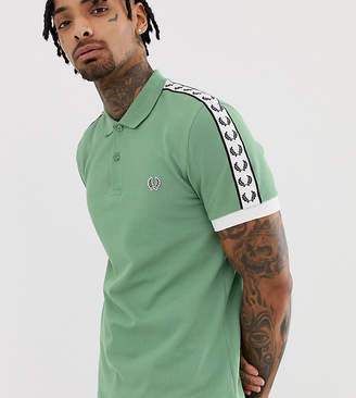 Fred Perry taped sleeve polo in green Exclusive at ASOS