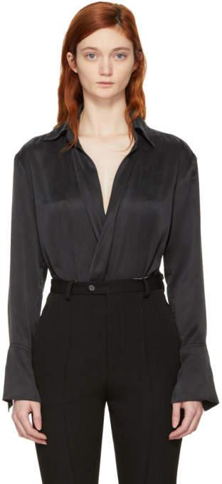 Kiki de Montparnasse Black Silk Wrap Bodysuit