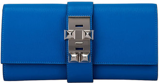 One Kings Lane Vintage Hermes Blue Zanzibar Chevre Medor Clutch - Vintage Lux