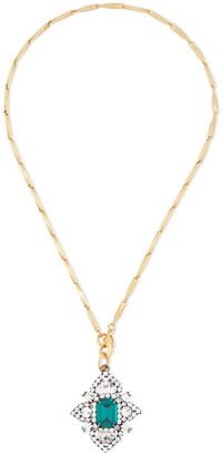 Elizabeth Cole Hematite And 24-karat Gold-plated Swarovski Crystal Necklace