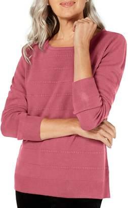 Karen Scott Petite Relaxed-Fit Ottoman-Stitch Sweater