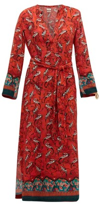 CHUFY Najima Bird-print Crepe Dress - Red Multi