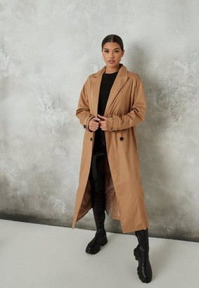 Missguided Brown Double Breasted Long Trench Coat