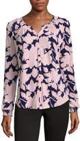 Liz Claiborne Long Sleeve Floral Button-Front Shirt