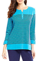 Allison Daley Petite 3/4 Sleeve Striped Waffle Knit Henley Top