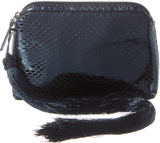 The Row Mini Snake-Embossed Leather Wristlet
