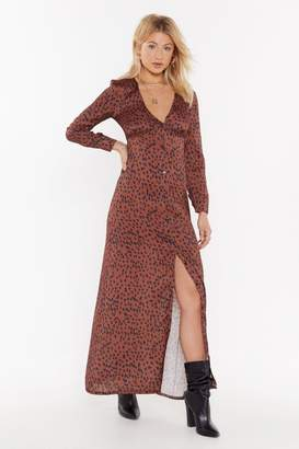 Nasty Gal Womens Button Me Up Animal Maxi Dress - brown - 8