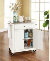 Crosley 28-1/4 in. W Stainless Steel Top Mobile Island Kitchen Cart in White