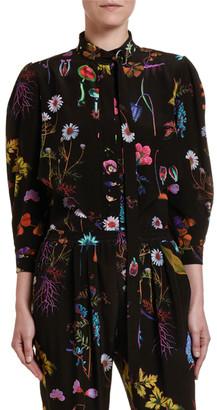 Stella McCartney Dark Floral Silk Button-Front Top