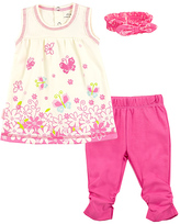 Kushies Pink Butterfly Floral Organic Cotton Tunic Set - Infant