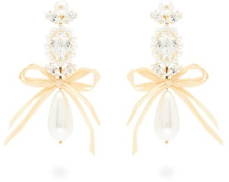 Simone Rocha Faux-pearl And Crystal Drop Earrings - Pearl
