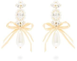 Simone Rocha Faux-pearl And Crystal Drop Earrings - Womens - Pearl