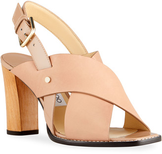 Jimmy Choo Aix 85mm Patent Leather Wooden-Heel Sandals