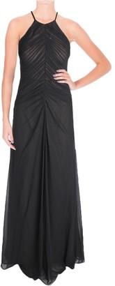 Vera Wang Women's Sleeveless Chiffon Rouched Gown Black/Nude 10