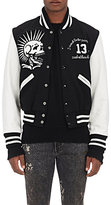 R 13 Men's Colorblocked Vintage Varsity Jacket-BLACK