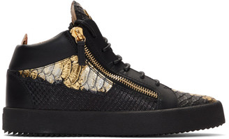 Giuseppe Zanotti Black and Gold Croc Kriss High-Top Sneakers