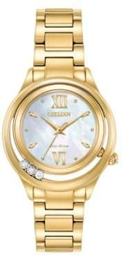 Citizen L Sunrise Diamond Studded Stainless Steel Bracelet Watch