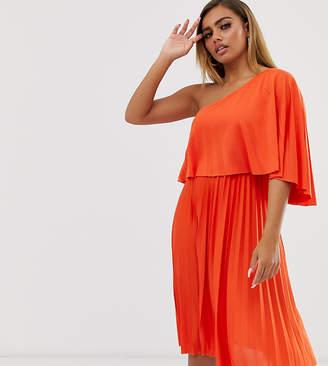 Asos one shoulder pleated crop top midi dress-Orange