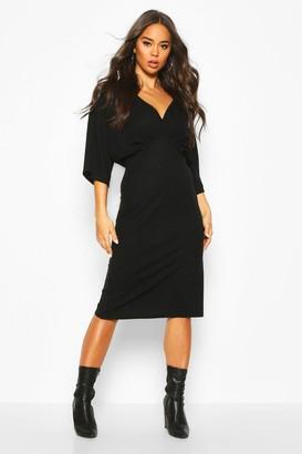 boohoo V Neck Drop Shoulder Midi Dress