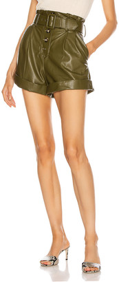 Self-Portrait Faux Leather Shorts in Olive Green | FWRD