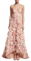 Marchesa Strapless High-Low Floral Tulle Gown, Blush