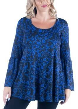 24seven Comfort Apparel Women's Plus Size Paisley Print Flared Tunic Top