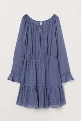 H&M Short Chiffon Dress - Blue