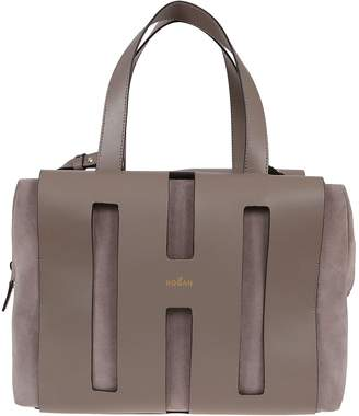 Hogan Grey Leather And Suede Bag