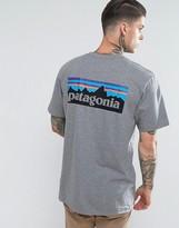 Patagonia T-shirt With P-6 Back Logo Print In Grey Marl