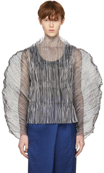 Marques Almeida Black and White Plisse Batwing Tulip Blouse