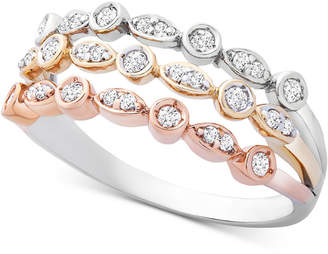 Wrapped Diamond Tricolor Triple Band Ring (1/4 ct. t.w.) in 14k Gold, White & Rose Gold
