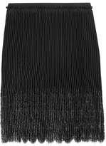 Emilio Pucci Pleated Paneled Crepe De Chine And Net Skirt