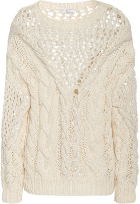Brunello Cucinelli Oversized Cable-Knit Cotton Sweater