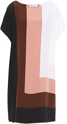 Diane von Furstenberg Color-block Silk Crepe De Chine Mini Dress