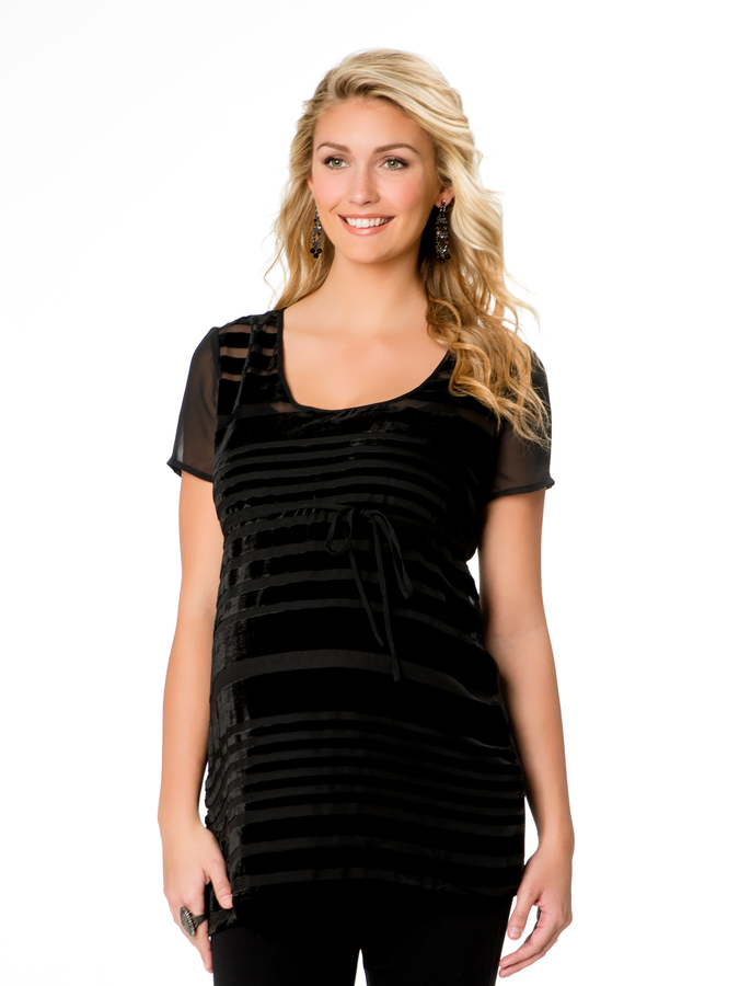 Motherhood Short Sleeve Burnout Maternity Tunic