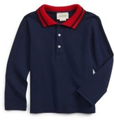 Gucci Toddler Boy's Stripe Collar Long Sleeve Polo