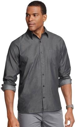 Van Heusen Men's Never Tuck Twill Chambray Woven Button-Down Shirt