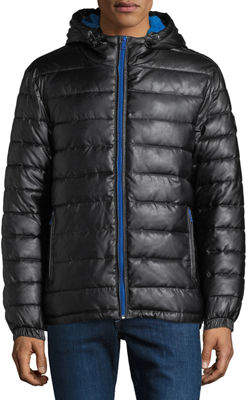 Cole Haan Hooded Faux-Leather Quilted Jacket