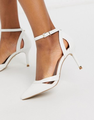 Carvela krisskross pointed heeled shoes in white with ankle strap