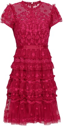 Needle & Thread Darcy Embroidered Tulle Mini Dress