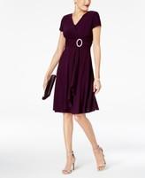 R & M Richards Short-Sleeve Faux-Wrap Dress